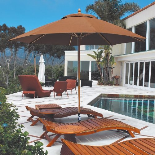 Galtech 11 Ft. Quad Pulley Maximum Shade Patio Wood Umbrella With Suncrylic  Canopy