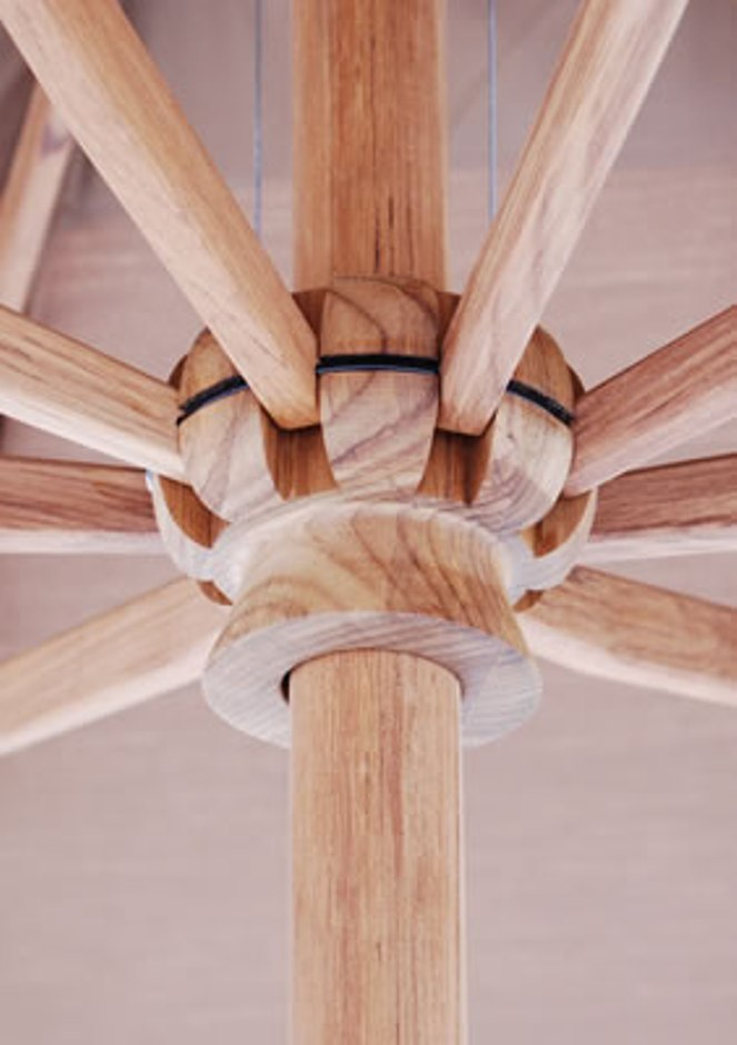 Patio Umbrella Crank Diagram: Galtech 11' Teak Wood Crank Lift Non Tilt Patio Umbrella