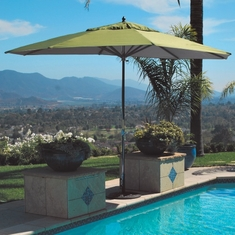 Galtech 8' x 11' Oval Patio Wood Umbrella With Sunbrella Canopy