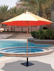 Galtech 9' All Purpose Single Pole Wood Patio Umbrella With Sunbrella Canopy