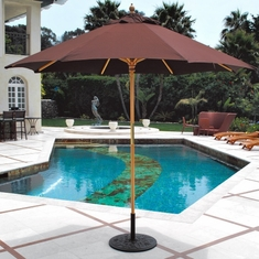 Galtech 9' All Purpose Single Pole Wood Patio Umbrella With Suncrylic Canopy