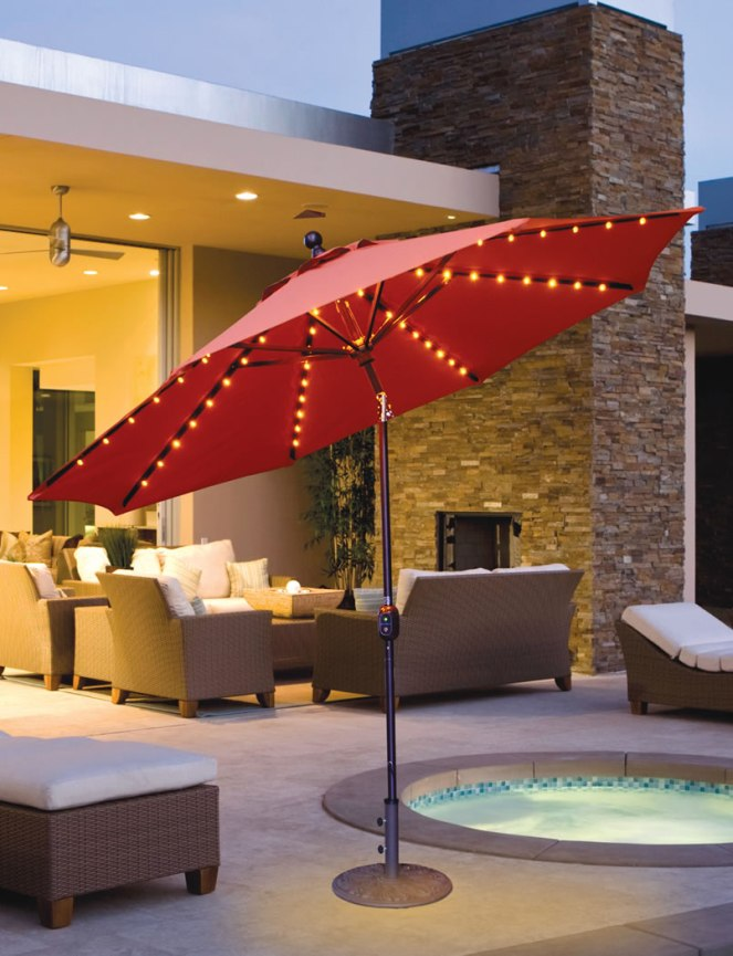 Galtech 9u0027 Aluminum Auto Tilt Patio Umbrella With LED Umbrella Lights And  Sunbrella Canopy