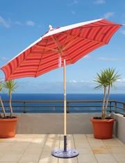 Galtech 9-Ft. Quad Pulley Lift Rotational Tilt Wood Patio Umbrella With Sunbrella Canopy