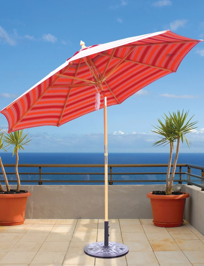 Galtech 9 Ft 4 Pulley Lift Wood Patio Umbrella With Sunbrella Canopy