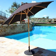 Galtech 9-Ft. Quad Pulley Lift Rotational Tilt Wood Patio Umbrella With Suncrylic Canopy