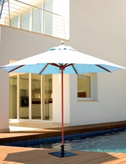 Galtech 9' Teak Wood Quad Pulley Non Tilt Patio Umbrella With Sunbrella Canopy