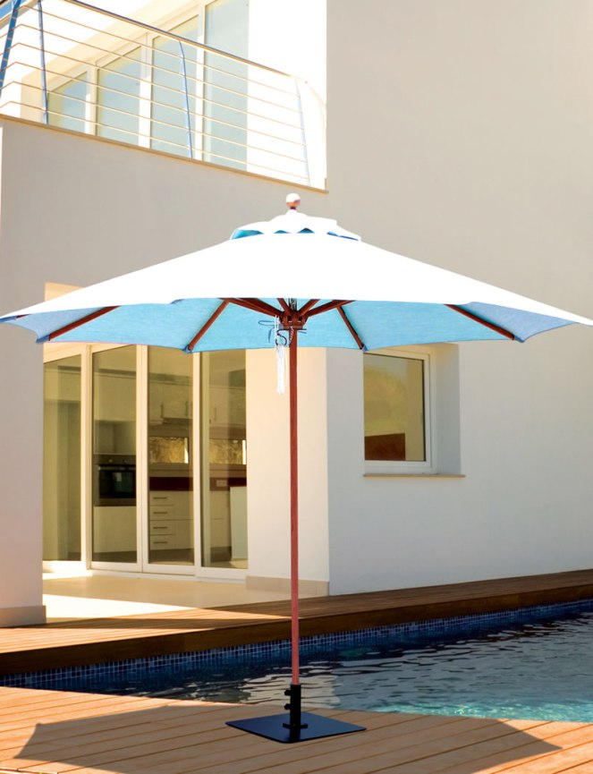 Galtech 9\' Teak Wood Quad Pulley Non Tilt Patio Umbrella With ...
