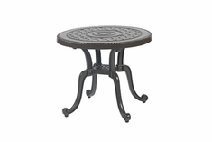 "Grand Terrace By Gensun Luxury Cast Aluminum Patio Furniture 26"" Round End Table"