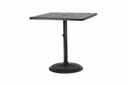 "Grand Terrace By Gensun Luxury Cast Aluminum Patio Furniture 36"" Square Pedestal Balcony Table"