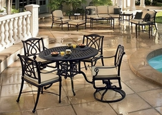 Grand Terrace By Gensun Luxury Cast Aluminum Patio Furniture 4-Person Dining Set With Swivel Chairs