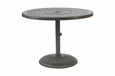 "Grand Terrace By Gensun Luxury Cast Aluminum Patio Furniture 42"" Round Pedestal Dining Table"