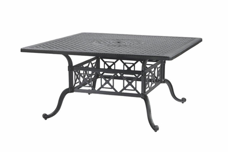 "Grand Terrace By Gensun Luxury Cast Aluminum Patio Furniture 60"" Square Dining Table"