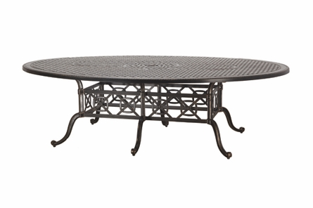 "Grand Terrace By Gensun Luxury Cast Aluminum Patio Furniture 72"" x 102"" Geo Dining Table"