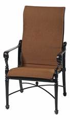 Grand Terrace by Gensun Luxury Cast Aluminum Patio Furniture Padded Sling High Back Dining Chair