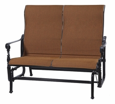 Grand Terrace by Gensun Luxury Cast Aluminum Patio Furniture Padded Sling High Back Loveseat Glider