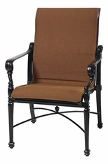 Grand Terrace by Gensun Luxury Cast Aluminum Patio Furniture Padded Sling Standard Back Dining Chair