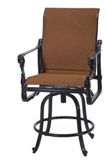Grand Terrace by Gensun Luxury Cast Aluminum Patio Furniture Padded Sling Swivel Balcony Stool
