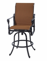 Grand Terrace by Gensun Luxury Cast Aluminum Patio Furniture Padded Sling Swivel Bar Stool