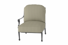 Grand Terrace By Gensun Luxury Cast Aluminum Patio Furniture Right Arm Stationary Club Chair