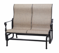 Grand Terrace by Gensun Luxury Cast Aluminum Patio Furniture Sling High Back Loveseat Glider
