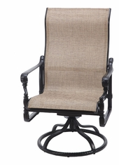 Grand Terrace by Gensun Luxury Cast Aluminum Patio Furniture Sling High Back Swivel Rocking Lounge Chair