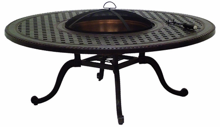"""Grand Terrace Cast Aluminum 54"""" Round Outdoor Wood Burning Fire Pit"""