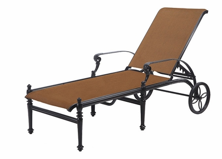 Grand Terrace By Gensun Padded Sling Patio Furniture Chaise Lounge