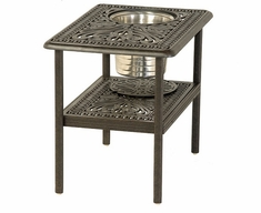 "Grand Tuscany By Hanamint Luxury Cast Aluminum 20"" x 28"" Patio Furniture Ice Bucket Side Table"