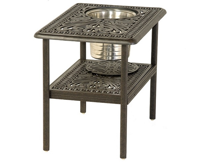 Grand Tuscany By Hanamint Luxury Cast Aluminum 20 X 28 Patio Furniture Ice Bucket Side Table