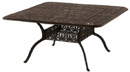 "Grand Tuscany By Hanamint Luxury Cast Aluminum Patio Furniture 60"" Square Dining Table"