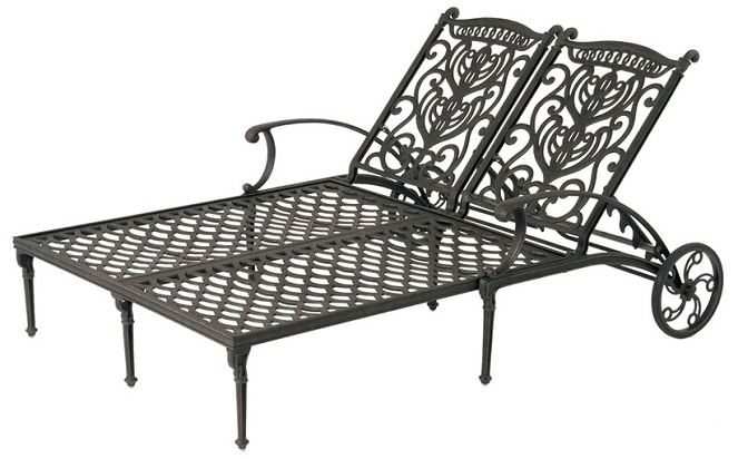 Grand Tuscany By Hanamint Luxury Cast Aluminum Patio Furniture Double  Chaise Lounge