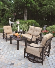 Lancaster By Hanamint 4-Person Luxury Cast Aluminum Deep Seating Set W/Swivel Glider Club Chair