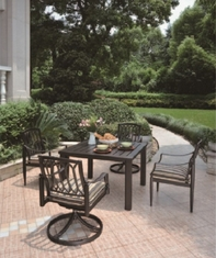 Lancaster By Hanamint Luxury Cast Aluminum Patio Furniture 4-Person Dining Set W/Swivel Chairs
