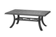 "Madrid By Gensun Luxury Cast Aluminum Patio Furniture 24"" x 48"" Rectangle Coffee Table"