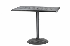 "Madrid By Gensun Luxury Cast Aluminum Patio Furniture 30"" x 48"" Rectangle Pedestal Bar Table"