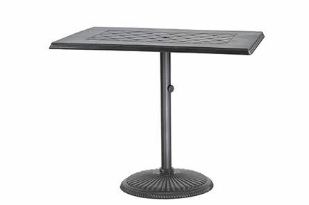 "Madrid By Gensun Luxury Cast Aluminum Patio Furniture 30"" x 48"" Rectangle Pedestal Dining Table"