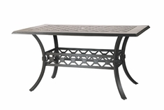 "Madrid By Gensun Luxury Cast Aluminum Patio Furniture 42"" x 72"" Rectangle Balcony Table"