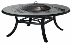 "Madrid II Cast Aluminum 54"" Round Chat Height Outdoor Wood Burning Fire Pit"