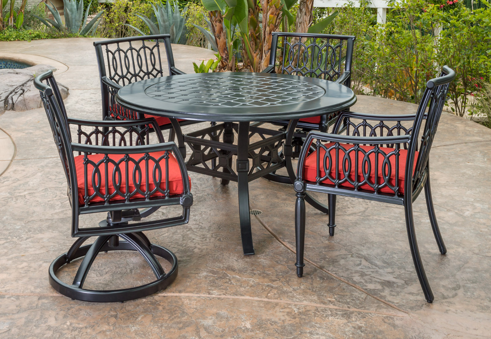 Manhattan By Gensun Luxury Cast Aluminum Patio Furniture 4 Person Dining  Set With Swivel Chairs