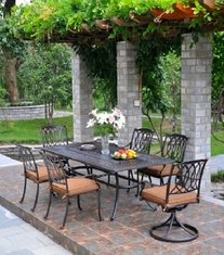 Mayfair By Hanamint 6-Person Luxury Cast Aluminum Dining Set W/Swivel Chairs