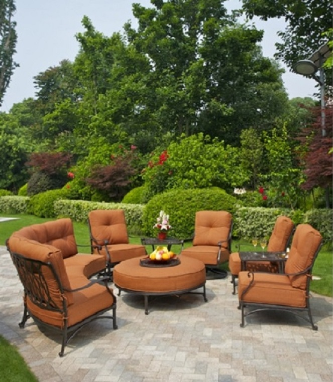 Mayfair By Hanamint 7 Person Luxury Cast Aluminum Patio Furniture Deep  Seating Set W/Swivel Chairs