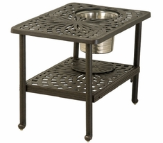 "Mayfair By Hanamint Luxury Cast Aluminum 22"" x 32"" Rectangular Ice Bucket Side Table"