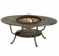 "Mayfair By Hanamint Luxury Cast Aluminum Patio Furniture 39"" x 52"" Oval Fire Pit Table"