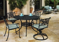 Michigan By Gensun Luxury Cast Aluminum Patio Furniture 4-Person Dining Set With Swivel Chairs