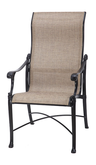Michigan By Gensun Luxury Cast Aluminum Patio Furniture Sling High Back  Dining Chair