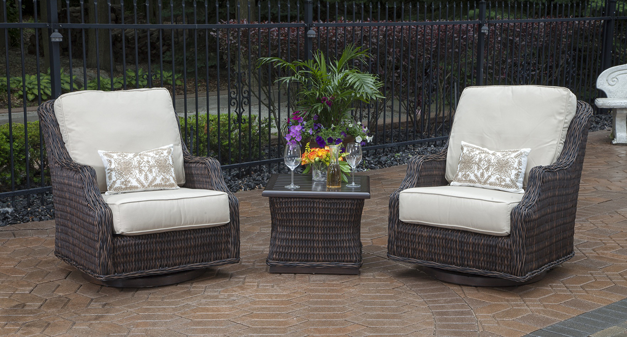 Mila collection 2 person all weather wicker patio for All weather garden chairs