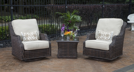 Mila Collection 2-Person All Weather Wicker Patio Furniture Chat Set W/Swivel Chairs