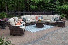 Mila Collection 9-Piece All Weather Wicker Patio Furniture Deep Seating Set W/Round Coffee Table