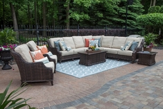 Mila Collection 9-Piece All Weather Wicker Patio Furniture Deep Seating Set W/Square Coffee Table
