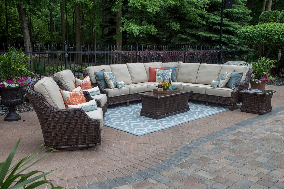 Mila Collection 9 Piece All Weather Wicker Patio Furniture Deep Seating Set  W/Swivel Glider Club Chairs